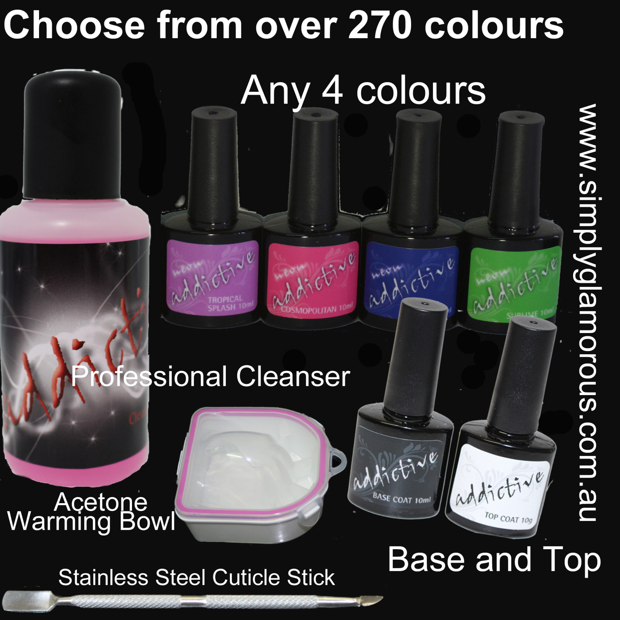 Uv Gel Nail Polish Starter Kit: 6 Bottle Addictive UV LED Gel Nail Polish Starter Kit